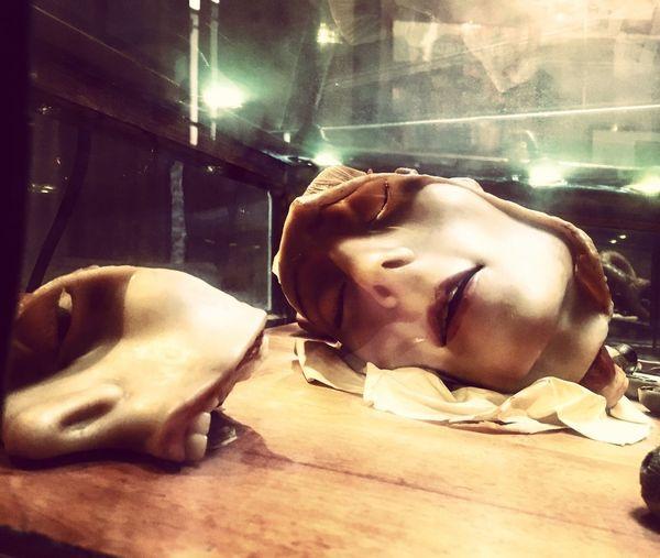 Wax Wax Figure Anatomical HEAD Cabinet Lying Down Cagliari Sardinia Sardegna Italy Museum AI Now