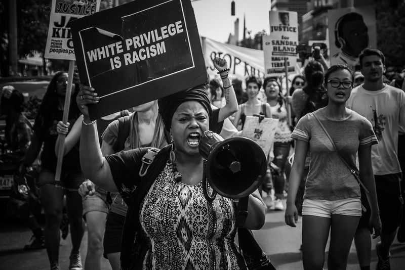 Blacklivesmatter Protest NYC (2015) EyeEm Canon Protest NYC Street Photography Protestor Placard Women Politics And Government Crowd City Issa Khari Issa Black And White Friday The Troublemakers