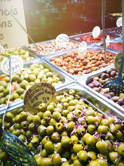 Food fun in France. Olives France Côte D'Azur Price Tag Abundance Large Group Of Objects