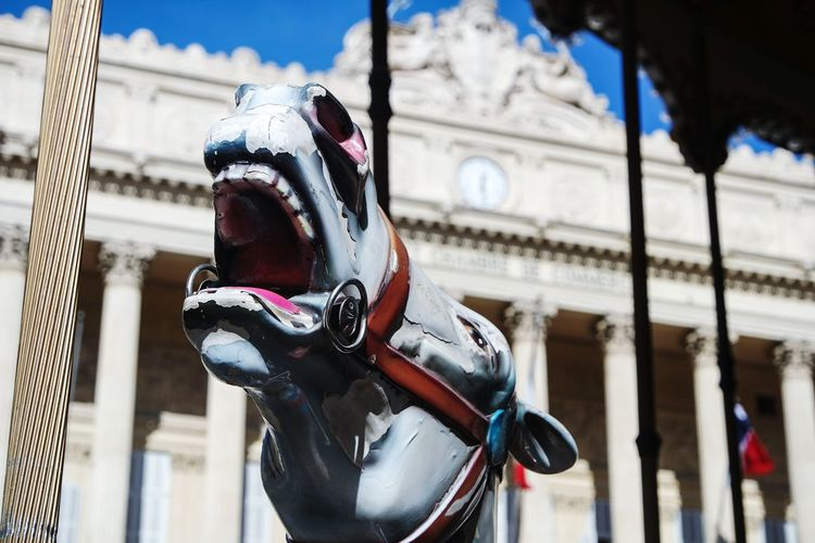 Close-up of horse statue against building