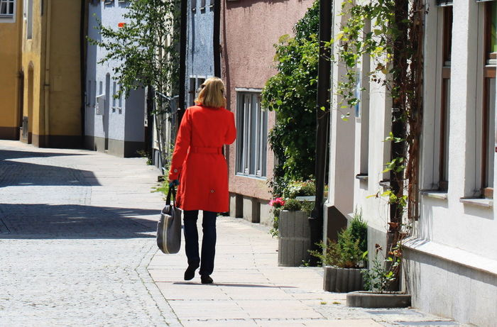 Füssen, Bayern, Deutschland Woman Architecture Building Exterior Built Structure Day Full Length One Person One Woman Only Outdoors Real People Rear View Summer 2013 Walking