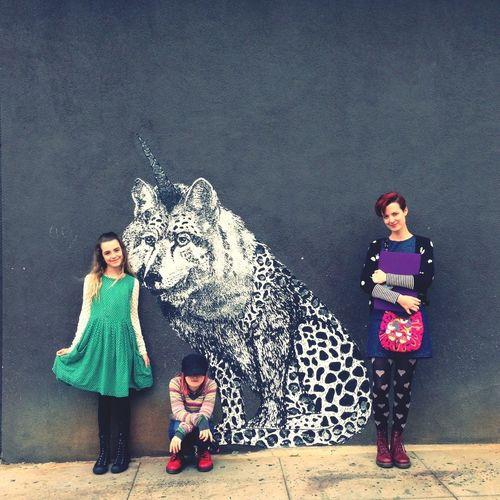 My three girls and a friend loving LA street art Street Art
