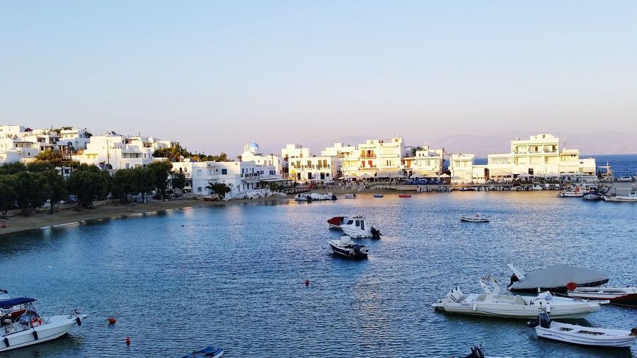 Piso Livadi Piso Livadi Cyclades Greek Harbour Greek Islands Sky Water Outdoors Building Exterior City Nautical Vessel Beach No People Architecture Cityscape Sea Sunset Clear Sky