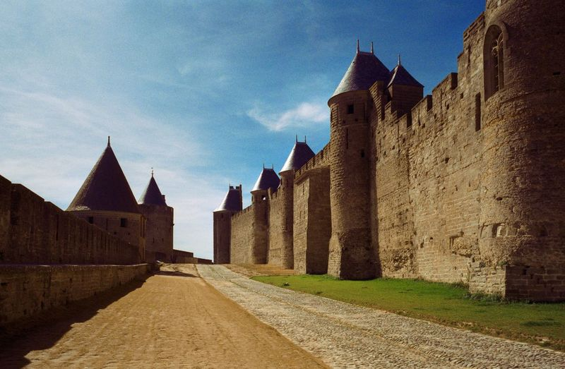 Carcassonne, Between the Town Walls Languedoc-Roussillon Carcassonne Contax G1 Medieval Middle Ages Town Wall Town Walls Medieval Town Architecture Built Structure Building Exterior Building Sky The Past History Old Travel Destinations Ancient Spire