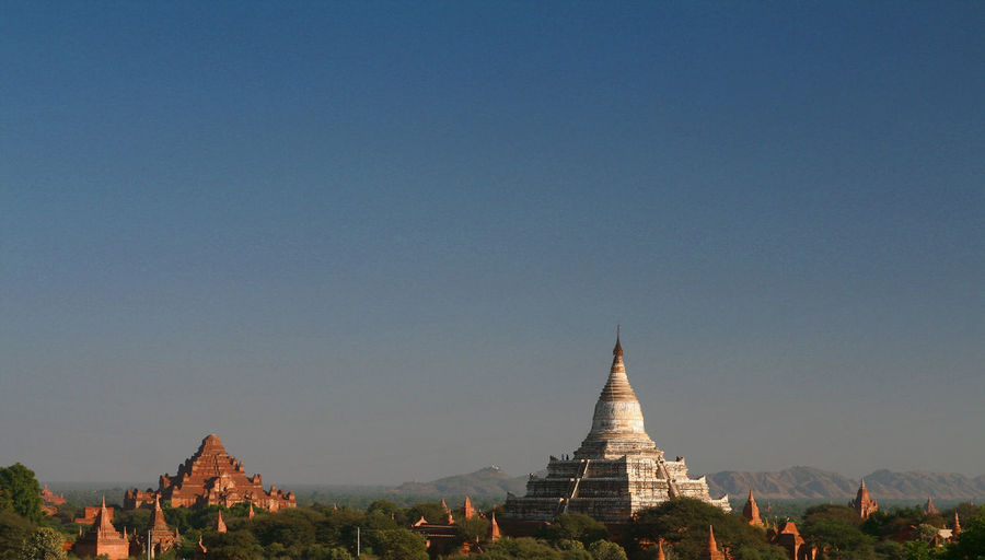 View of temple against clear sky
