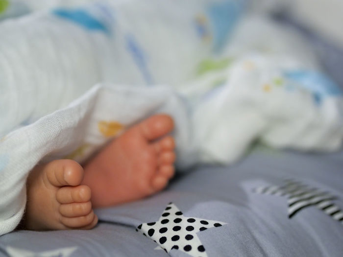 Midsection of baby lying on bed