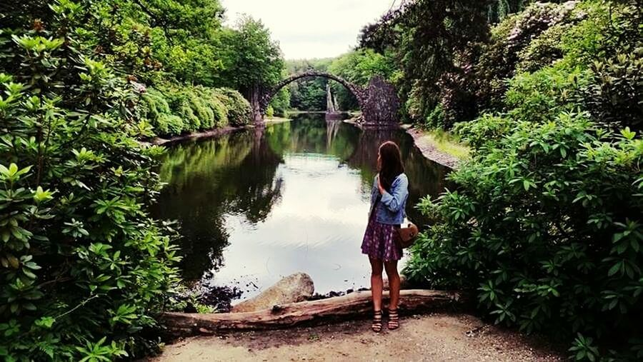 Beauty In Nature Kromlauer Park Kromlau Deutschland Nature Reflection Real People Rear View Water Outdoors Forest Landscape Landscape_Collection Collection Polish Girl Summertime