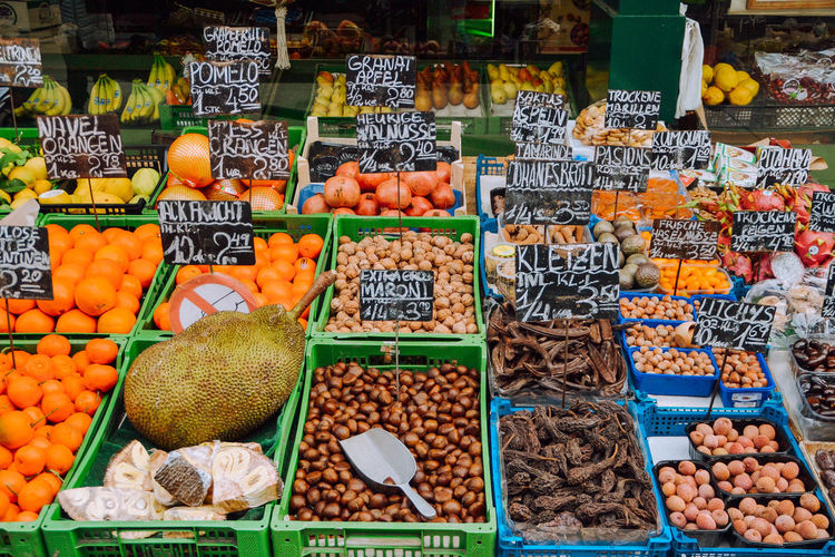 Vienna Food And Drink Market Stall Retail  Market Food Naschmarkt Olives Spice Seasonings Fruits Colourful Nuts Deli