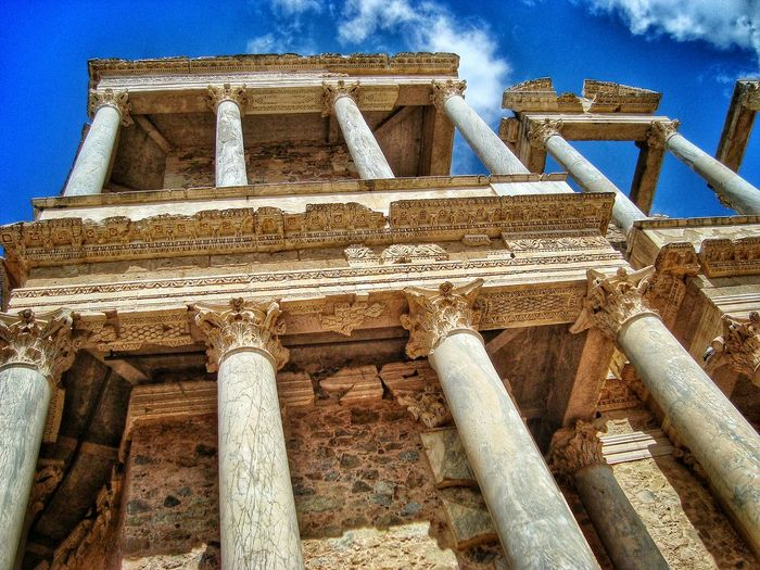 Architectural Column Architecture Blue Built Structure Cloud Cloud - Sky Column Cultural Heritage Day Historical Monuments History Low Angle View Lumicar No People Old Outdoors Roman Roman Theatre Sky The Past The Architect - 2016 EyeEm Awards