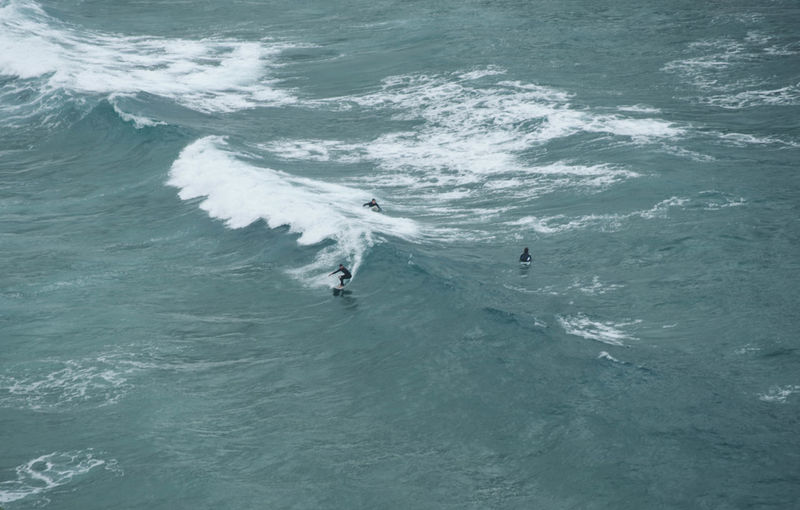 High angle view of people surfing in sea