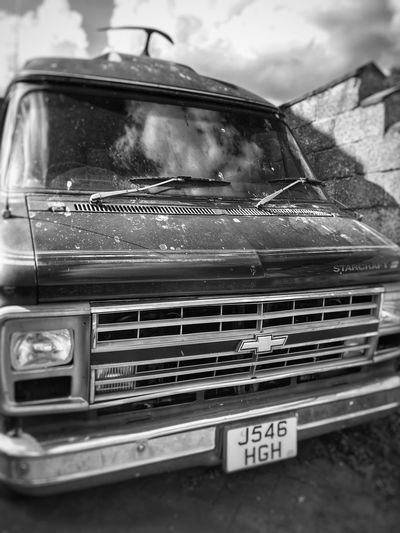 Ain't moving! Chevy Old-fashioned Classic Car Americana Blackandwhite