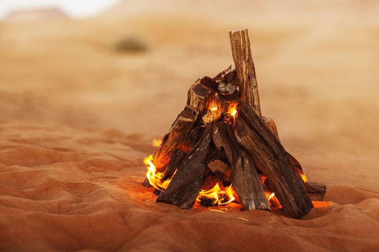 Beautiful bonfire in the desert, rest in the uae