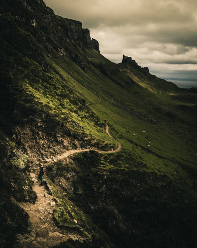 the serpent. Cloudy Day Great Britain Green Color Hiking Hills Isle Of Skye Landscape Mountain Nature No People Outdoors Quiaraing Rocks Scenics Scotland Sky United Kingdom
