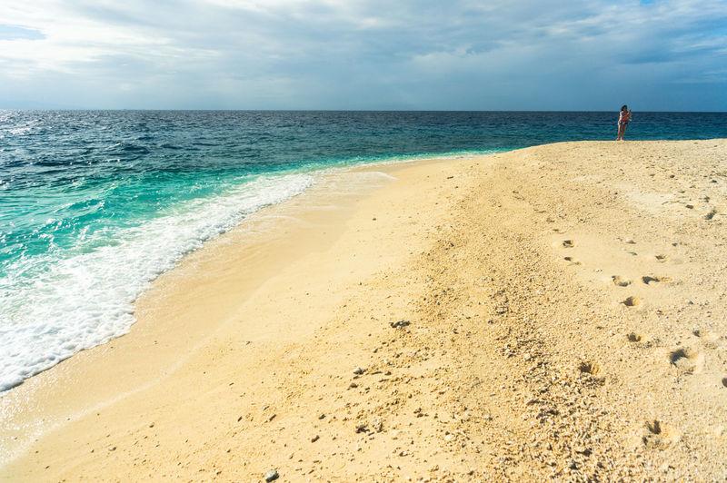 Sea feelings Philippines Leyte Tacloban  Kalanggamanisland Beach Alone Sand Dune Sea Beach Wave Sand Summer Water's Edge Lighthouse Horizon Tide Low Tide Headland Calm Coast Ocean FootPrint Surf Coastline Seascape