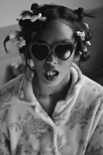 Lolita's Life: Home Alone Fun Natural Light Retro Black And White Childhood Close-up Day Elementary Age Front View Girls Happiness Indoors  Leisure Activity Lifestyles Mammal One Person People Portrait Real People Retro Styled Sunglasses Teenager Vintage Young Adult Young Women
