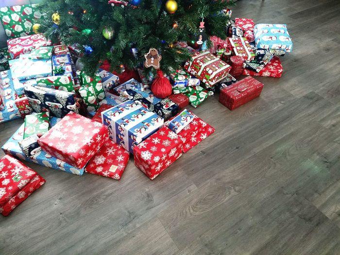 High angle view of christmas tree