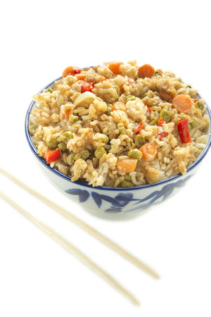 Fried Rice with chopsticks Bowl Brown Rice Carrots Chopsticks Diet Dinner Food Fried Rice Healthy Lunch Nutritious Peas Vegetarian