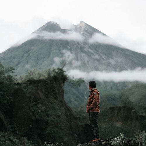 The Rest Of The Eruption Mountain Rear View Real People Nature Landscape Beauty In Nature Scenics Volcanic Crater Mountain Range Fog Volcanic Landscape Outdoors Adventure first eyeem photo