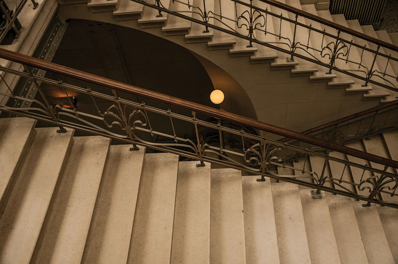 Low angle view of illuminated staircase