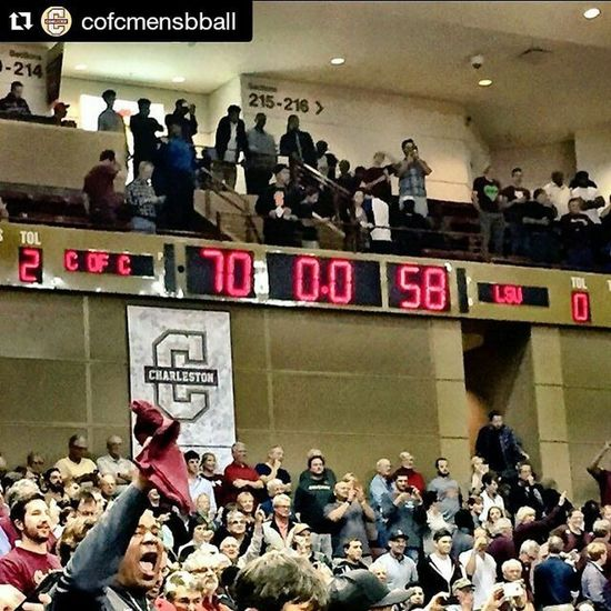 GoCOUGS TheCollege Winning Restoretheroar BeatLSWho BeatLSU Repost @cofcmensbball with @repostapp ・・・ 🚨🚨🚨🚨 UPSET ALERT Great win over LSU tonight! Thank you to everyone who came out and witnessed a great game! Y'all mean a lot to our program and we hope to keep seeing you out here at TD! Go Cougs!! TheCollege