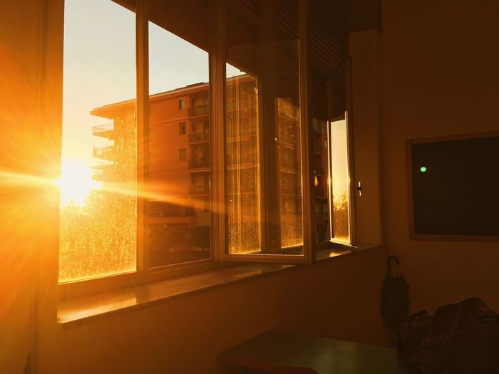 School Window Glass - Material Sunset Orange Color Indoors  Nature Architecture No People Sunlight Built Structure Illuminated Lens Flare Building Curtain Capture Tomorrow