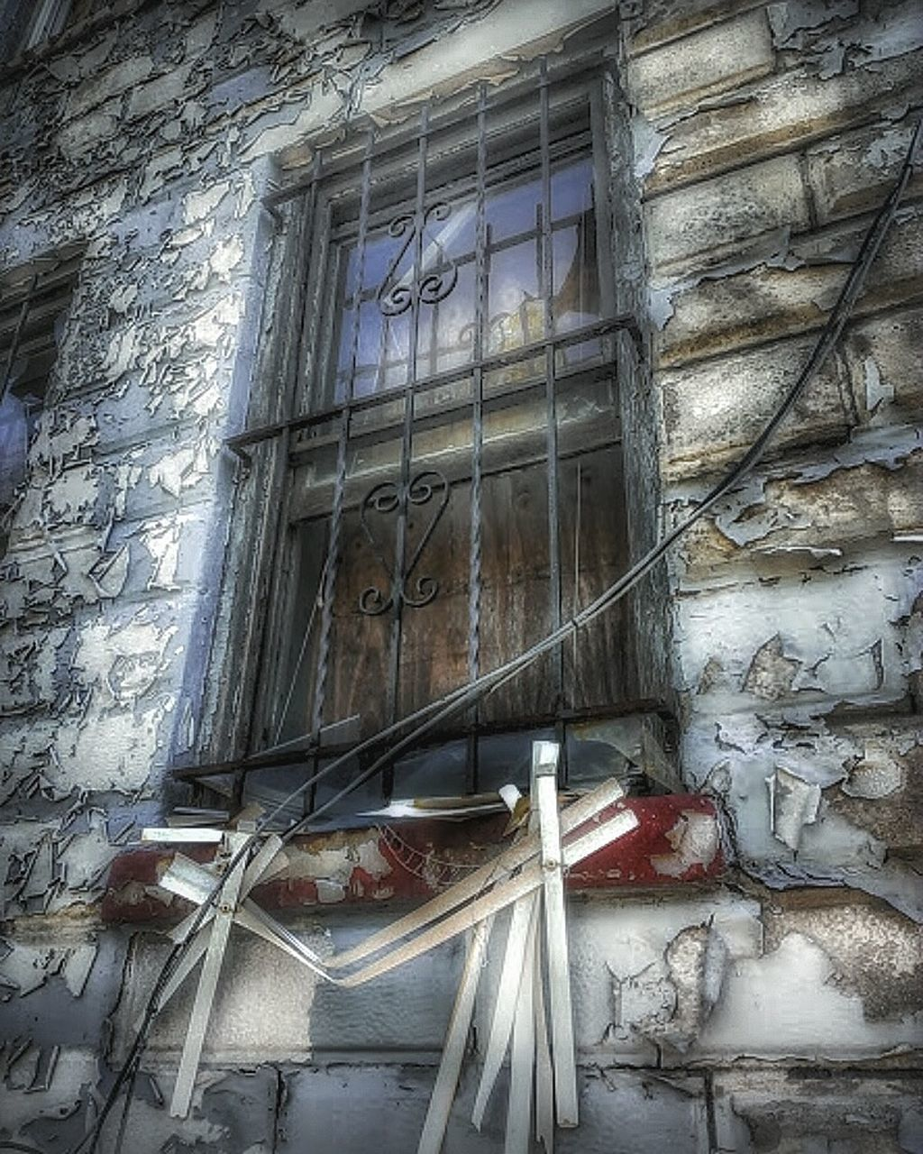 window, architecture, built structure, abandoned, house, no people, building exterior, low angle view, day, indoors