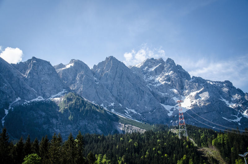 View to Zugspitze Top Of Germany  Tree Mountain Snow Pinaceae Sky Mountain Range Landscape Snowcapped Mountain Peak
