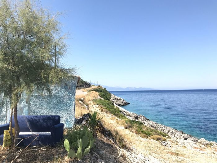 Island life Green Against The Blue Cactus And A Tree Cactus Thinking Place Green And Blue Shack Island Shack Blue Shed Abandonment Greek Island Greek Islands Island Life Plant Sea Water Sky Tranquility Tree Nature Beauty In Nature Tranquil Scene No People Horizon Over Water Scenics - Nature
