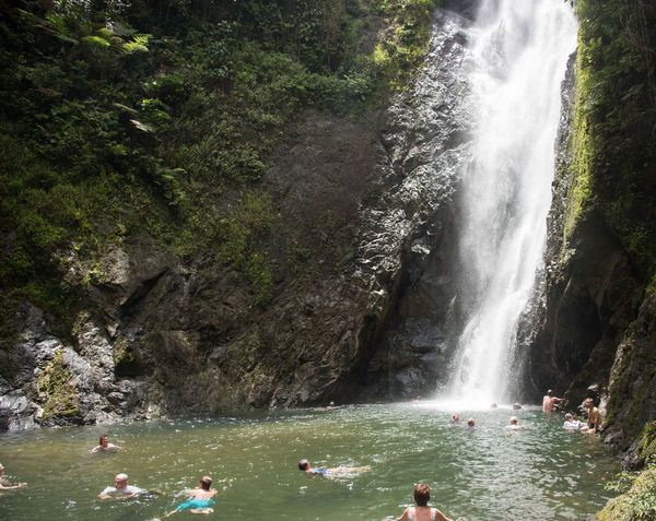 SUVA,FITI LEVU,FIJI-NOVEMBER 28,2016: Swimming in rock pool with cascading waterfall in remote rainforest in Suva, Fiji Suva Swimming Tranquility Travel Adventure Beauty In Nature Day Extreme Terrain Large Group Of People Leisure Activity Motion Nature Outdoor Pursuit Outdoors Pacific Islands Paradise Real People Refreshing Rejuvenation Scenics Tree Tropical Vacations Water Waterfall Second Acts