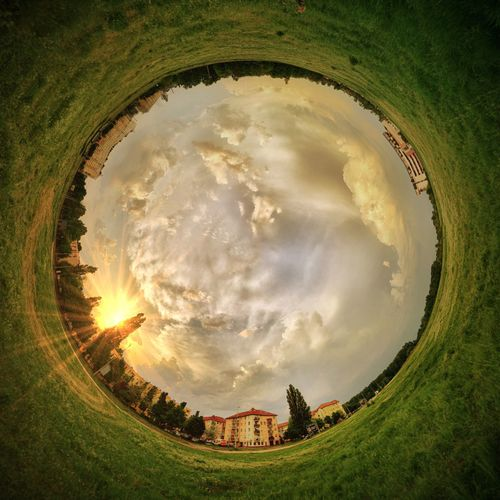 Little world... Sky Cloud - Sky Nature Plant Land No People Environment Landscape Circle Fish-eye Lens Outdoors Architecture Day