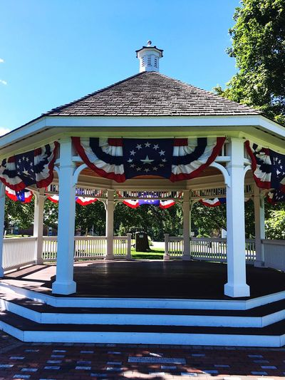 Architecture Built Structure Day Outdoors Architectural Column No People Building Exterior Blue Clear Sky Tree Sky Nature Gazebo Americana American Flags USA United States Investing In Quality Of Life