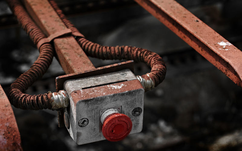 Alarm Button Commercial Development Factory Heavy Hungary Industrial Iron Machine Part Macro Noise Old Padlock Product Production Push Red Red Button Rusty Safety Security Structure Texture Working