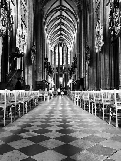 Sainte Croix Cathedral 😀 Orléans France IPhoneography Iphoneonly Bnw Blackandwhite Spirituality Perspectives Moments Indoors  Outofthephone Mobilephotography Moment EyeEm IPhoneography Tourist Attraction  Travel Destinations Church Chairs
