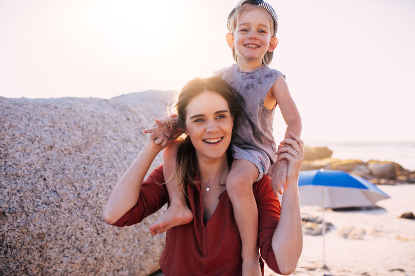 Happiness Smiling Looking At Camera Portrait Emotion Land Women Beach Bonding Two People Leisure Activity Togetherness Sunlight Child Females Front View Nature Teeth Toothy Smile Positive Emotion