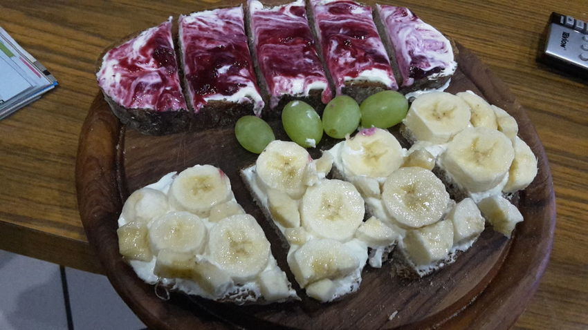 Food Food Photography Foodphotography Supper Suppertime Supper Time Bread Grapes 🍇 Green Grapes Marmalade Yummy Banana Bananas