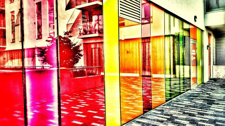 Rainbow Alley Urban Architecture Urban Geometry Creative Light And Shadow Urban Reflections Colouryourworld