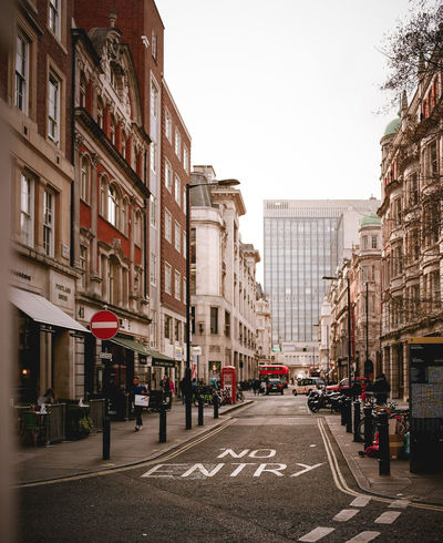 Film LONDON❤ London London lifestyle London Streets No Entry Road Architecture Building Exterior Built Structure Car City Clear Sky Day Film Photography Mayfair No People Outdoors Road Road Sign Roadway Sky Street Symmetrical Transportation
