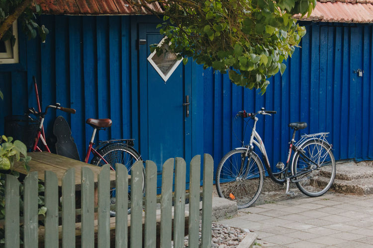Lietuva Lithuania Architecture Barrier Bicycle Blue Blue Sky Boundary Building Exterior Built Structure Day Fence Gate House Iron Land Vehicle Metal Mode Of Transportation Nature Nida No People Outdoors Plant Security Transportation