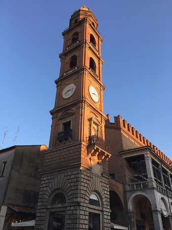 Square Of Faenza Bell Tower With Clock Middelages Fajance High City Tower Ceramic City Fajance Italy🇮🇹 Old City City Hall Faenza City Ceramic City Built Structure Architecture Building Exterior Sky Low Angle View Building Tower Clear Sky Travel Destinations City Nature Travel Tall - High No People History Day Clock