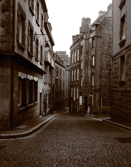 EMPTY STREETS OF ST-MALO Old Town Architecture Blackandwhite Photography Building Exterior City Cobblestone Street Window