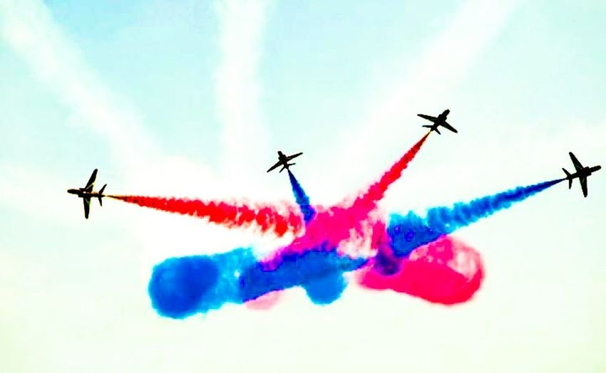 Red Arrows At Eastbourne Seaside Edit Airshow Teamwork Vapor Trail Smoke - Physical Structure Multi Colored Airplane Sky Flying Speed Transportation Performance Low Angle View Military Airplane Day Mode Of Transport Formation Flying Arrangement Air Vehicle Mid-air Outdoors