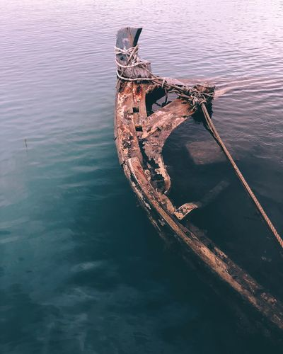 High angle view of abandoned boat in lake