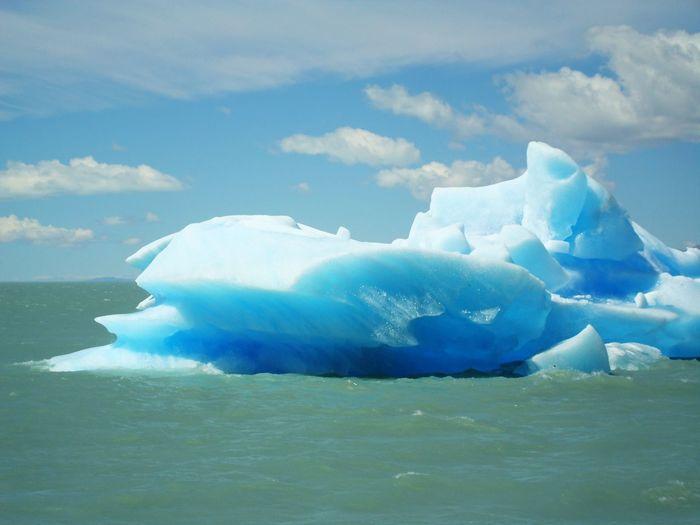 Majestic glaciers floating on sea