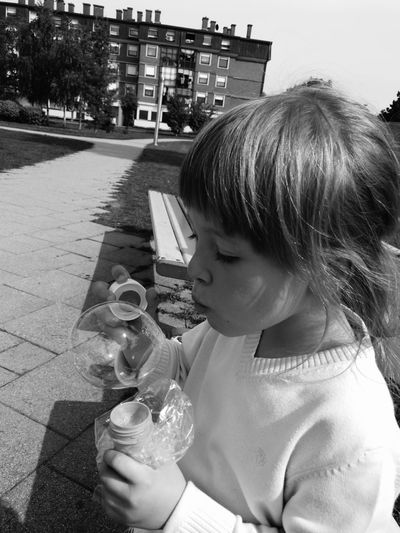 Black And White Childhood Happyness Bubbles... Bubbles...Bubbles....