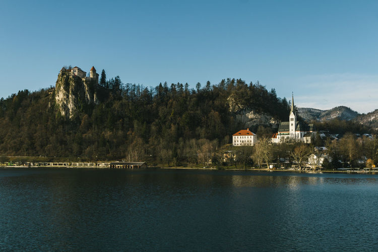 Castle Church Panorama Architecture Beauty In Nature Building Exterior Built Structure Day Lake Landscape Mountain Nature No People Outdoors Scenics Sky Tranquility Tree Water Waterfront