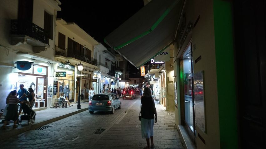 City Night Car Architecture Built Structure Land Vehicle Full Length People Illuminated Rethymnon Crete Rethymnon Mediterranean Sea Crete Adult Adults Only Building Exterior Outdoors One Person Only Men