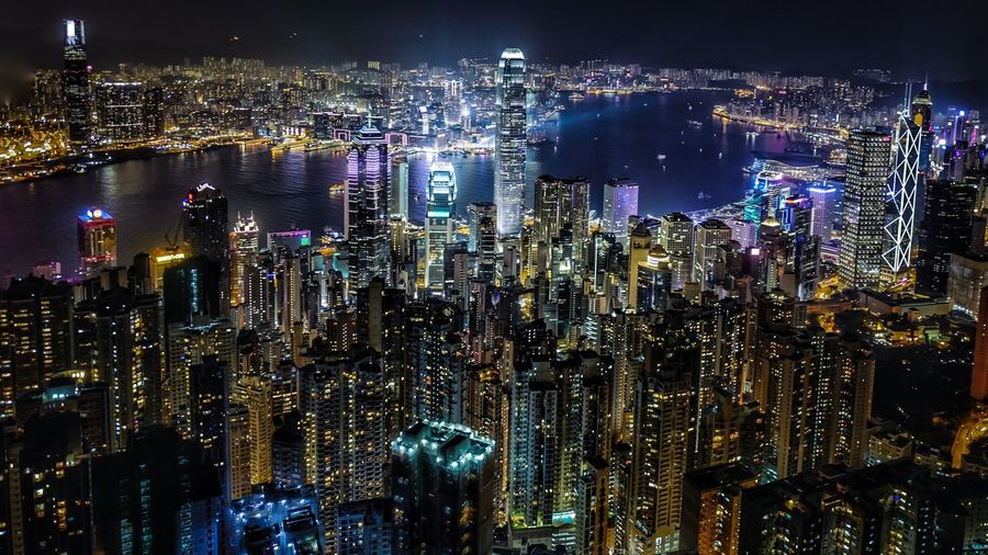 High Angle View Of Illuminated Cityscape At Night