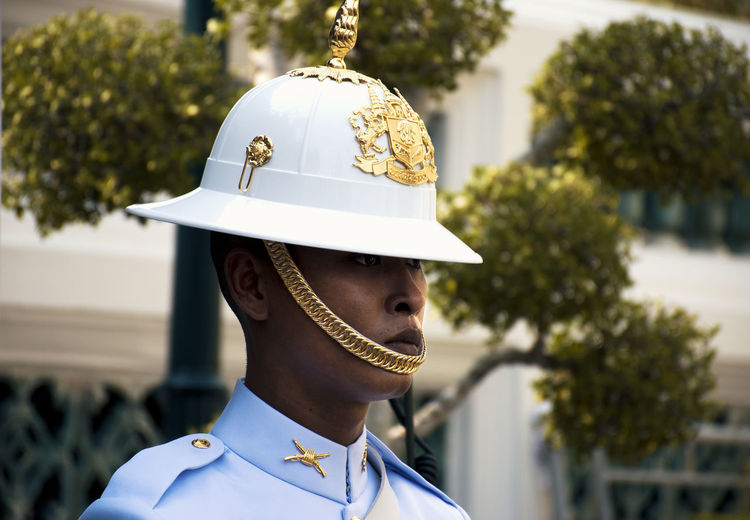 Grand Palace Guard Headshot Focus On Foreground One Person Government Military Real People Hat Outdoors Military Uniform Lifestyles Standing Portrait Men Armed Forces Thailand