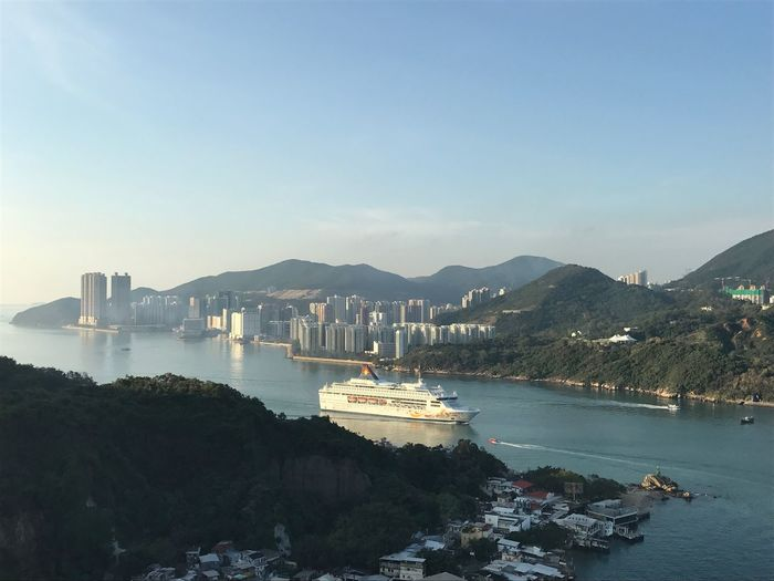 beautiful start or the day HongKong Coastline Mountain Ship