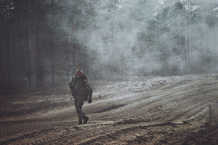 Airsoft AiRSOFTGUN Ptw War Full Length Walking One Person Real People Rear View Fog Outdoors Day People Adults Only Tree Cold Temperature Nature Adult Snowing One Man Only
